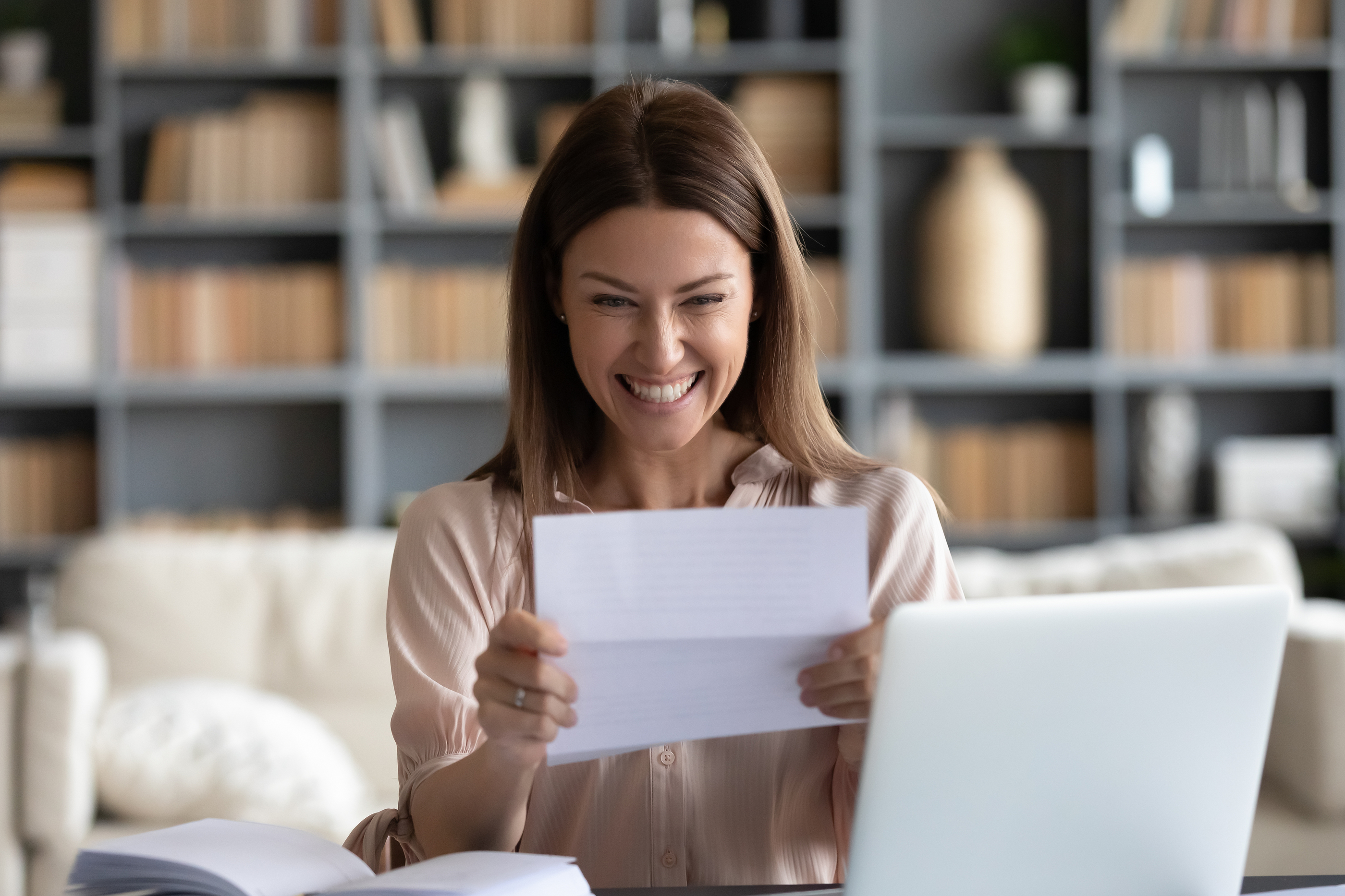 Woman receiving stimulus check